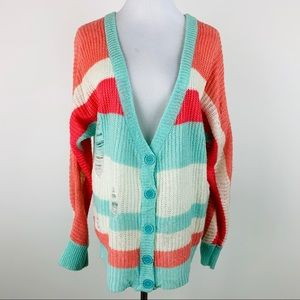 ZENANA Outfitters Striped Distressed Cardigan Sz L
